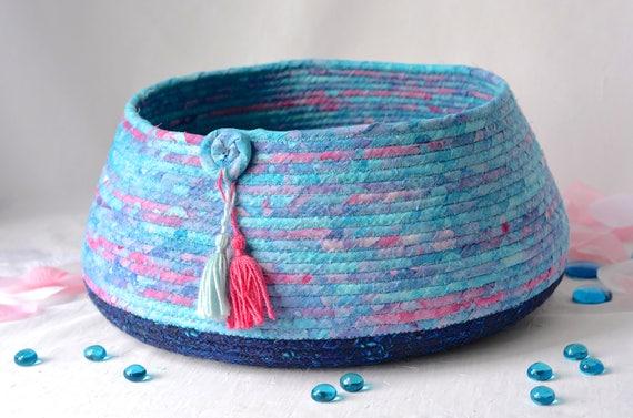 Blue Batik Basket, Handmade Coiled Fabric Basket, Lovely Blue Knitting Yarn Basket,  Bathroom Storage Basket, Magazine Rack