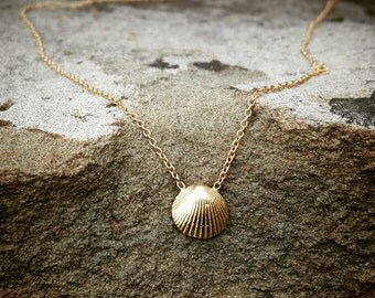 Gold Necklace Gold Seashell Necklace Rose Gold Necklace 14K Gold Sea Shell Womens Gift Necklace Beach Jewelry Girlfriend Gift 14K Pink Gold