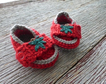 Red and Gray Crocheted Baby Loafers, Crocheted Baby Booties