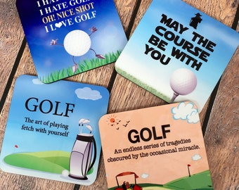 Coasters, Golfer Coasters, Man Cave Coasters, Golfing Coasters, Cork back Coasters, Housewarming Gift