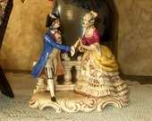 Reserved for Tara - German Hand Painted Colonial Couple Figurine Lady Man Germany Victorian Antique Porcelain
