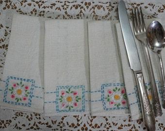 Handmade Linen Embroidered Dinner Napkins Set of 4