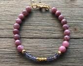 Lepidolite & Iolite Bracelet | Gemstone Bracelet | Beaded Bracelet | Healing Stone Bracelet