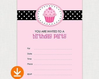 Pink Cupcake Girl Party - Birthday Party Invitations - DIY Fill In Birthday Invitation - Printable Birthday party invite - Instant Download