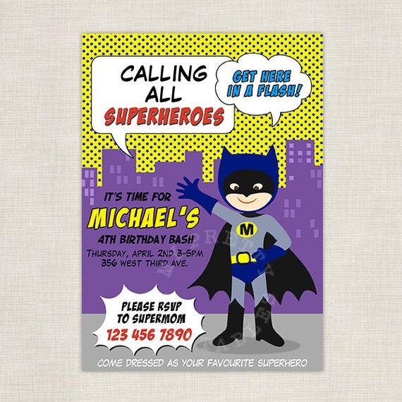 Lil' Batman - Superhero Digital Birthday Party Invitation - DIY Printable Birthday party invite