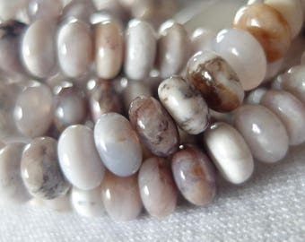 """8mm Pink Opal Stone Rondelle Beads, 15.5"""" strand, 82 beads"""