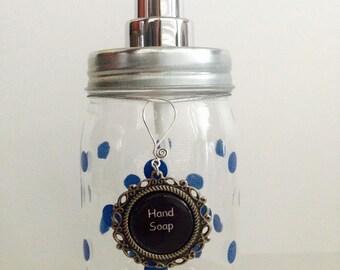Mason jar hand soap dispenser - Dish soap dispenser - Lotion dispenser - Soap label - Blue polka dot soap dispenser