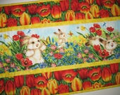 RESERVED FOR LAURA Easter Table Runner, Floral,Bunnies, Spring, quilted table runner, Summer, table linens