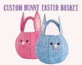 Personalized Easter Basket, Easter Bunny Basket, Fabric Easter Basket Boy, Easter Basket Girl, Egg Hunt Bunny Face Basket Custom