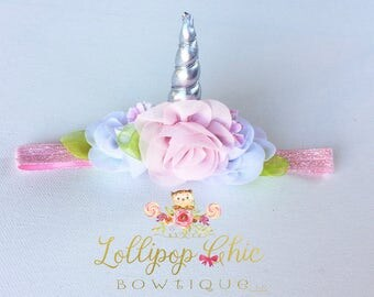 Unicorn Headband silver horn MINI size pink and white.