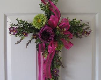 Purple Floral Cross Wreath, Handmade Cross, Cemetary Cross, Front Door Wreath, Pink, Green, Purple Peony, Spring Flowers
