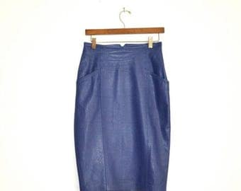 ON SALE 80s Vintage High Waisted Leather Skirt Size Medium Periwinkle Purple Blue// Vintage Purple Leather Skirt Pencil Skirt Highwaisted