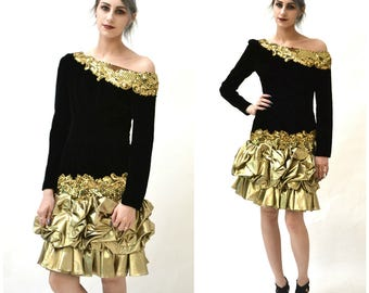Vintage 80s Prom Dress Black and Gold Metallic Small Medium// 80s 90s Black Velvet Gold Metallic Sequin Party Dress Small Alyce Designs