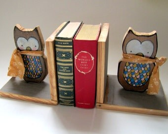 ON SALE Owl Book Ends Bookends Cute Whimsical Woodland Kids Room Decor Playroom Decoration Reading Nook Animal Wood Wooden