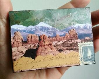 "Utah Art, Mini Original, Mixed Media Photography, Moab Utah, Utah gift, ACEO mini art, 2.5"" x 3.5"", Arches National Park, ""Moab II"""