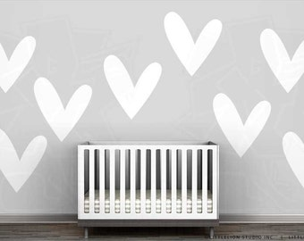 So Much Love Monochromatic Wall Decal Mural By LittleLion Studio   Big  White Heart Decal, Part 48