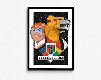 Yellow Lion and Pilot Hunk Portrait // Digital Illustration and Fine Art Print // Colorful, Dynamic Voltron Inspired Pop Art Design