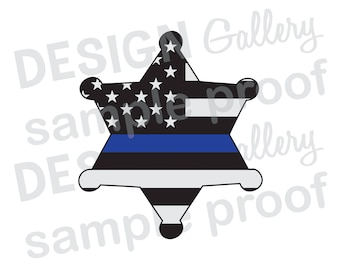 Deputy Sheriff Badge American Flag Thin Blue Line - JPG, png image & SVG, dxf cut - Printable Digital Iron On