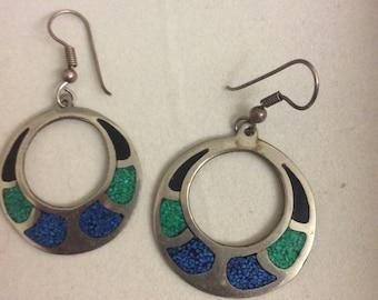 Turquoise/onyx earrings alpaca Mexico pierced Silvertone vintage 60s
