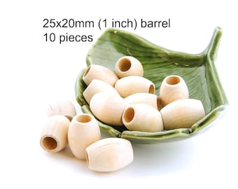 1 inch Oval Natural Wooden Barrel Beads with large holes - 25x20mm - 10 pieces