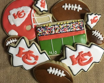 Kansas City KC Chiefs football cookies Playoff Tailgate assortment