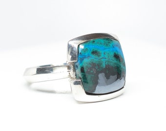 Chrysacolla Sterling Silver Ring - Size 8