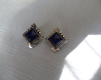 Vintage Small Sterling Silver Lapis Clip On Earrings