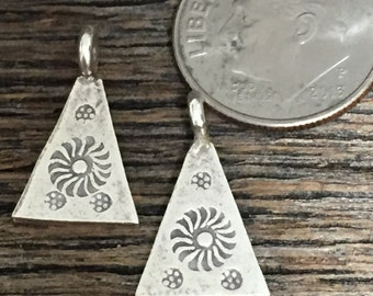 Tribal Pendants with Top Rings - Fine Silver Charms - 2 Karen Hill Tribe - Earring Dangles - 16mm x 7mm C205RR