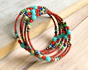 rainbow memory wire bracelet, bead bangle, bohemian, colorful, hippie, boho, jewelry