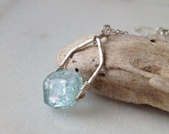 "Aquamarine Sterling Silver Necklace Pendant Drop Blue Stone Genuine Aquamarine Gemstone Light Sky Blue Gem Custom Length Chain 16"" -20"""