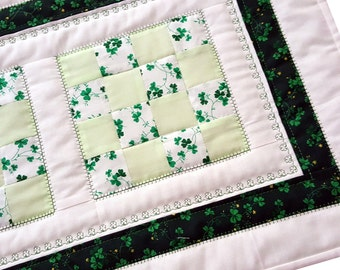 Irish Shamrock Patchwork Quilted Table Runner, The Perfect St. Patrick's Day Table Decor