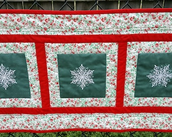 Quilted Table Runner or Wall Hanging Features Embroidered Snow Flakes Red Green and White