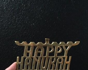 vintage solid brass happy hanukah candelabra / candleholders
