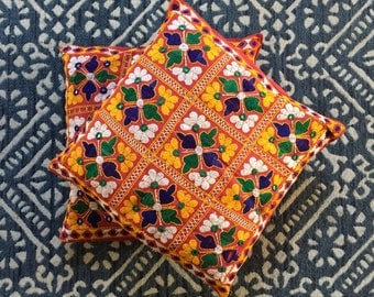 vintage red yellow embroidered mirror pillow / pillowcase cover / flower floral / 1 pillow