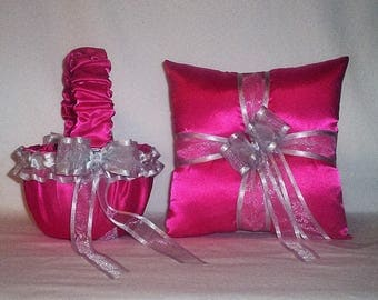 Fuchsia Hot Pink Satin With Silver Trim  Flower Girl Basket And Ring Bearer Pillow Set 3