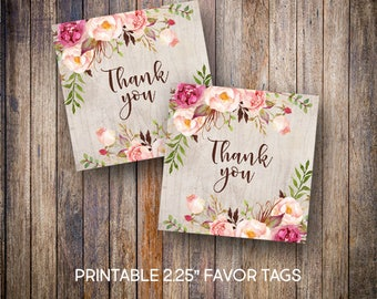 """Rustic Bridal Shower Favor Tags, 2.25"""" Square Tags, Thank You Tags, Gift Tags, Green, Pink, Wine, Digital Download, Printable Tags, 901"""