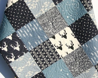 Baby Quilt Boy Deer Southwest Stag Woodland Birch Forest Arrow Navy Blue Silver Modern Crib Bedding Toddler Bed Quilt Rustic Nursery Decor