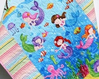 Baby Quilt, Little Mermaids, Reversible, Girl Bedding, Nursery Decor, Ocean Nautical Fish, Under the Sea, Beach Sea Shells, Octopus Seahorse