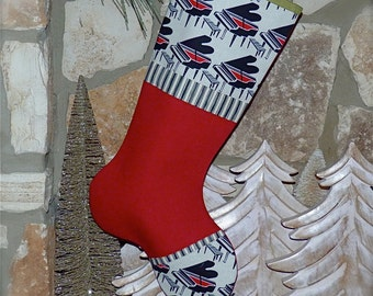 Piano Christmas Stocking ...  Pianist Gift ... Musician Christmas Stocking ...  Music Christmas Gift ... Black and Red Christmas Stocking