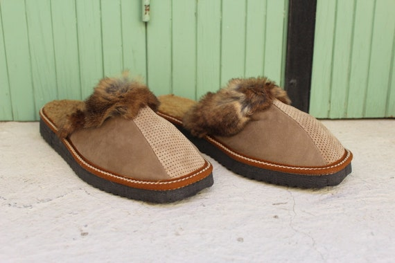 Sheep skin slippers Leather slippers/ Size 40/Fur slippers/Napa slippers/ Greek leather slippers//Women's leather slippers