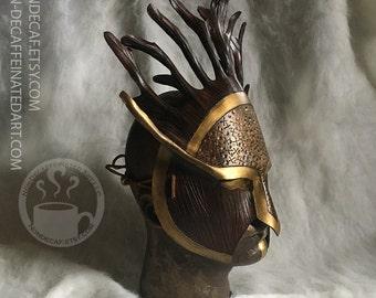 Druid warrior armor tree spirit - Handmade Leather Costume Fantasy Greenman Mask - Renaissance Festival Masquerade