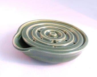 Soap Dish - Green Soap Dish - Draining Soap Dish - One Piece Soap Saver - Kitchen or Bath - Handmade Pottery - Bright Green