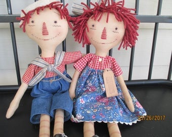 Primitive Raggedy Ann and Andy Set