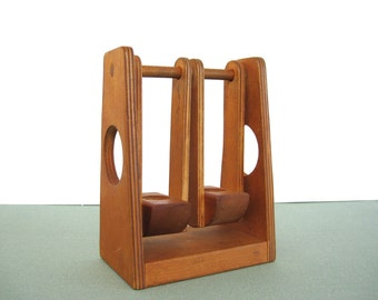 Vintage Creative Playthings Wooden Swing Set Toy Dollhouse Motion Double Swings Round Little People Mid Century 1960's