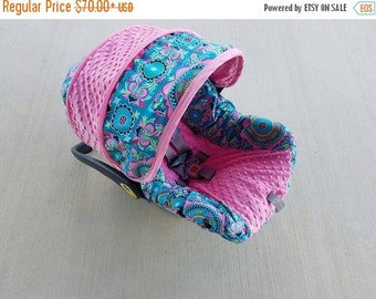 Fall SALE Baby Girl Infant car seat cover-beautiful medallion print Teal and pinks-  Always comes with FREE strap Covers