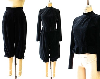 Vintage 1980s Danuta Kraft Black cotton blouse & Knickers Set | RAGS By Danuta Kraft San Francisco | Size Small