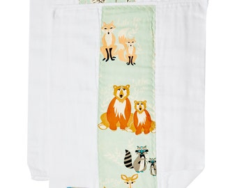 Woodland Animal Burp Cloths, Baby Burp Cloths, Burp Rags, Best Burp Cloths, Diaper Burp Cloths, Burp cloths boy, Burp Cloth Set Woodland