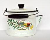 Vintage Enamelware Tea Pot Mid Century 1950s 1960s