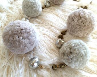 Christmas Garland, Pom Pom Garland, Snowball Garland -- Pom Poms, Metallic Ornament, Silver and Gold Christmas