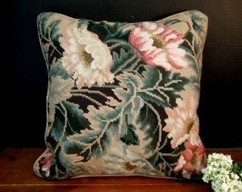 Vintage Needlepoint Frenchie Floral and Velvet Pillow / Vintage Floral Square Needlepoint Pillow